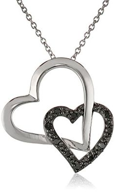 Sterling Silver 1/10cttw Black Diamond Double Hearts Pendant Necklace, 18″by Amazon Collection - See more at: http://blackdiamondgemstone.com/jewelry/necklaces/pendants/sterling-silver-110cttw-black-diamond-double-hearts-pendant-necklace-18-com/#sthash.vJN7A9Vu.dpuf