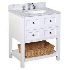 New Yorker Bathroom Vanity (Carrara/White): Italian Carrara Marble Countertop, White Cabinet, Soft Close Drawers, and a Ceramic Sink Kitchen Bath Collection 30 Inch Bathroom Vanity, 24 Inch Vanity, Master Bathroom, White Bathroom, Basement Bathroom, Marble Bathrooms, Bathroom Sinks, Bathroom Cabinets, Bathroom Furniture