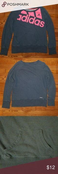 Adidas Sweatshirt Grey Adidas Sweatshirt, minor fading, small kangaroo pocket. 80% cotton, 20%polyester. Offers and bundles welcomed. adidas Tops Sweatshirts & Hoodies