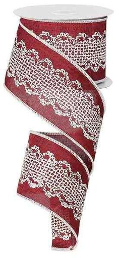 """2.5 """" X 10yd Wired Burlap Crochet Lace - Burgundy Ribbon - (10 Yards)- RG191805"""