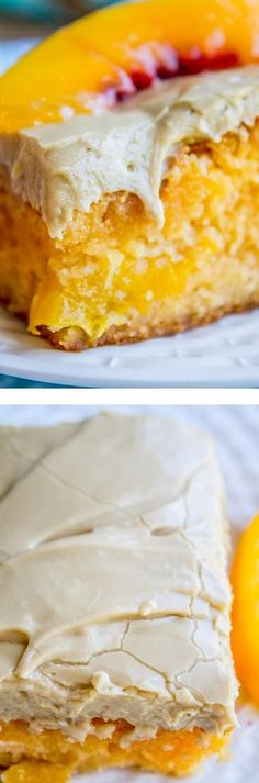 Peach Cake with Brown Sugar Frosting from The Food Charlatan. A delightfully peachy cake made from a cake mix and a packet of Jello, of all things! Don't knock it til you try it! There are real peaches in the cake, which makes it super moist (ok, and a lot of oil). It is topped with a rich brown sugar frosting! It almost has a caramel effect. Such a perfect summer dessert!