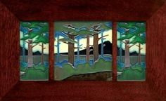 Pine Landscape Mountain and Valley Trio ($415) from The Mission Motif (tiles)