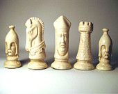 Vintage 1970s Chess Pieces Fun - Decorative Items