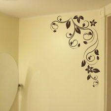 CORNER FLOWER WALL STICKER interior home floral transfers vinyl decal decor FL22