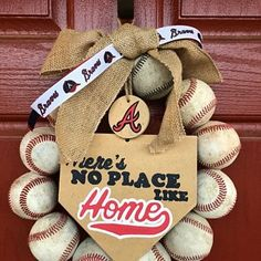 Lara Berens added a photo of their purchase Softball Wreath, Baseball Wreaths, Sports Wreaths, Painted Wooden Signs, Wooden Tags, Hand Painted, Coach Gifts, Team Gifts, Burlap Bows