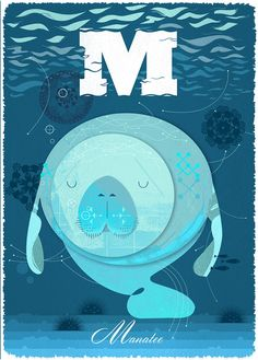 M is for Manatee Limited Edition Giclee by by GrahamCarterPrints