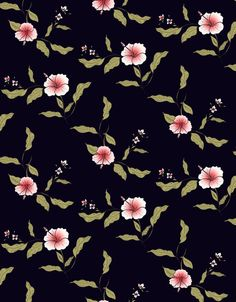 Dark floral pattern with tropical hibiscus flowers, vintage style, from ink pen hand drawing by DesigndN.