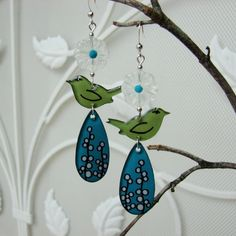 The Birds and the Berry Branches - Handmade painted whimsical earrings