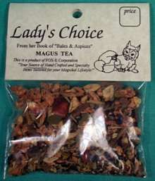 Magus Tea (Men`s ritual tea) This magical blend contains jasmine, cassia bark, mistletoe, rue, star anise, and black tea. Excellent tasting as well! Loose tea, one package is enough for 5 + cups. (Not to be used as a substitute for a doctor`s care.)  $1.95