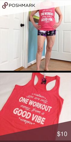 """Inspirational workout tank! Deep coral tank.  26"""" length, 17"""" bust. This is a Jr Large, fits me like a Women's S sofra Tops Tank Tops"""