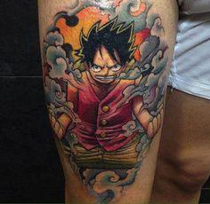 One Piece Tattoo Luffy One Piece Tattoos, Body Art Tattoos, Tatoos, Color Tattoos, Monkey D. Luffy, Tatuagem One Piece, One Punch Man, Japanese Mask, Japan Tattoo