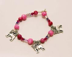 Pink Bead Stretch Bracelet with Pug Dog Charms by ThisPugLife, $10.00