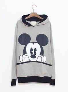 Gray  Mickey Cartoon Casual Sweatshirt$43.00