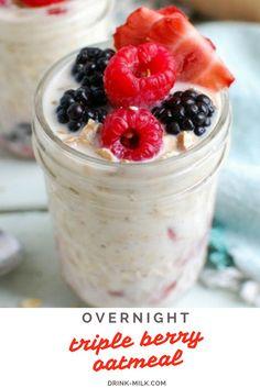 Overnight Triple Berry Oats. Soak oats overnight in milk and Greek yogurt for an easy breakfast!