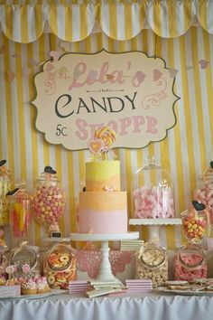 Vintage Candy + Sweet Shoppe Birthday Party via Kara's Party Ideas karaspartyideas.com sweet shop party supplies shop online cake decorations stand (20)