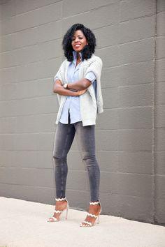 Chunky Knit + Boyfriend Shirt + Ripped Ankle Jeans:Style Pantry waysify