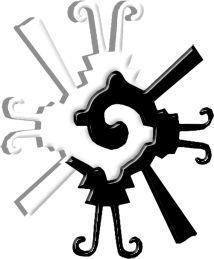 """Deidad Maya creadora llamada Hunab Ku, """"Dios Uno"""". Este """"Dios Creador"""" reúne los grandes opuestos cósmicos y su dualidad se representa en un símbolo que plasma la permanente evolución del ser humano. Se ubica como la Unidad en el centro del calendario maya y los contrastes del símbolo evocan eras de oscuridad dando paso a los tiempos de luz. Hunab Ku representa la eterna batalla entre la ignorancia y la conciencia, de la cual el espíritu humano emerge y florece."""