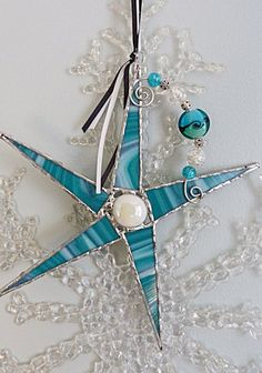 Stained Glass Star Teal and Black Retro Colors with by miloglass