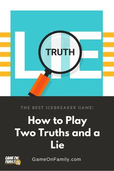 How to Play Two Truths and a Lie – the best icebreaker game! Icebreaker Questions For Adults, Fun Icebreaker Games, Icebreakers, Jeopardy Game For Kids, Games For Kids, Games For Two People, Fun Classroom Games, Kids Lying, Team Building Games