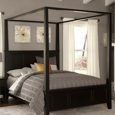 King size Modern Classic Wood Canopy Bed in Black Finish - Quality House