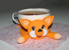 Quilling art. Cute fox  stand for the cup by QuillingLife on Etsy