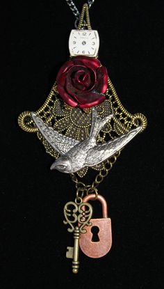 Steampunk necklace- red rose, bird, lock, key & watch face