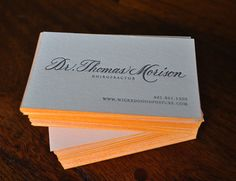 Calligraphy Letterpress EdgePainted Business Cards by dellacarta, $160.00