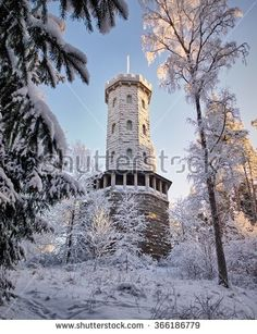 Stock Photo: Aulanko lookout tower on a sunny winter day. Snowy trees surrounding the old frozen stone building. Lookout Tower, Snowy Trees, Winter Day, Monet, Finland, Sunnies, Photo Galleries, Photo Editing, Frozen
