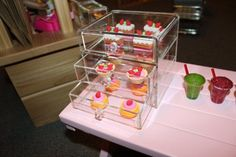 Sweets Display Case: I used another acrylic office supply box. I placed inside little cake shaped erasers that I found in the dollar bins at my local Target store.