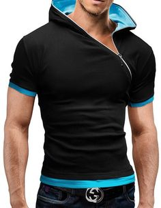 2017 New Men's Zipper Shirt Tops Tees Summer Cotton V Neck Short Sleeve T Shirt Men Fashion Hooded Slim T Shirts-in T-Shirts from Men's Clothing & Accessories on Aliexpress.com | Alibaba Group