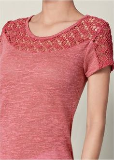 Order a sexy Lace Detail Top from VENUS. Shop short sleeve tops, tanks, tees, blouses and more at an affordable price today! Casual Tops For Women, Blouses For Women, Kurti Embroidery Design, Modelos Fashion, Make Your Own Clothes, Kurta Designs Women, 60 Fashion, Lace Tops, Stylish Dresses