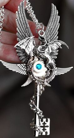 Shop for steampunk on Etsy, the place to express your creativity through the buying and selling of handmade and vintage goods. Key Jewelry, Cute Jewelry, Jewelry Accessories, Jewelry Making, Steampunk Accessoires, Dragon Jewelry, Dragon Necklace, Magical Jewelry, Key Necklace