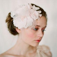 Blush bridal hair flowers, silk