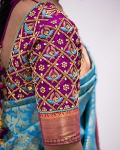 blouse designs Looking for blouse design to wear with your wedding silk sarees? Here are 19 pretty blouse choices to try and make your special saree even more special. Pattu Saree Blouse Designs, Wedding Saree Blouse Designs, Blouse Designs Silk, Wedding Blouses, Wedding Sarees, Blouse Patterns, Wedding Mehndi, Shirt Designs, Hand Work Blouse Design