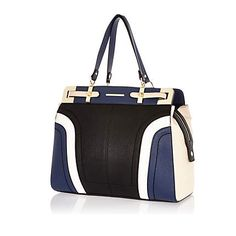 Black colour block large structured tote bag #riverisland