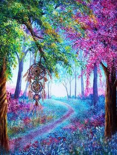 Shop for Dream Catcher Colorful Wonderland Diamond Painting Kit at Pretty Neat Creative with ✅ Softest canvas, Sparkliest beads ✅ Most Durable Package ✅ WARRANTY. Beautiful Paintings Of Nature, Beautiful Landscape Wallpaper, Beautiful Landscapes, Planets Wallpaper, Wallpaper Backgrounds, Dream Catcher Art, Dream Catcher Painting, Tree Wall Murals, Flowery Wallpaper
