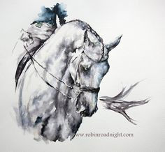 Minimal Contemporary Grey Dressage Horse Painting By www.robinroadnight.com