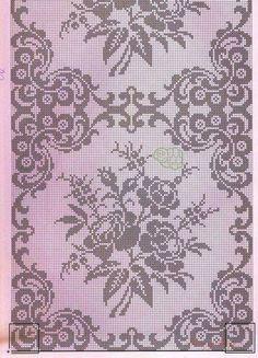 szydełko / filet / serweta na Stylowi.This Pin was discovered by DorŠeme za heklanje – Page 65 Filet Crochet Charts, Crochet Diagram, Crochet Motif, Crochet Doilies, Crochet Patterns, Crochet Bedspread, Crochet Curtains, Crochet Table Runner, Crochet Tablecloth