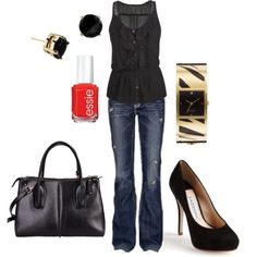 Black outfit makes you look professional, but trendy for work
