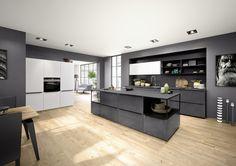 #loftowa kuchnia z kolekcji Ferro z metalowymi frontami w kolorze Blue Steel.