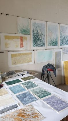 Prints and paintings by Laurel Holmes in her Kommetjie studio, preparing for her solo exhibition 'Water Mark' at StateoftheART in Oct 2020. Still Frame, Moving Water, Patterns In Nature, October, Paintings, Studio, Prints, Paint, Painting Art