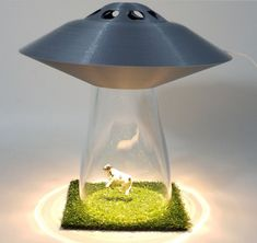 UFO LAMP Alien Abduction Extraterrestrial Silver Space Ship Saucer Desk Light