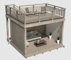 Garden furniture with roof terrace.- Garden furniture with roof terrace. Thanks to the polycarbonate roof, sunlight enters and water leaves the gutter. Backyard Patio Designs, Pergola Designs, Backyard Landscaping, Landscaping Ideas, Casa Bunker, Design Jardin, Pergola Plans, Pergola Ideas, Pergola Roof