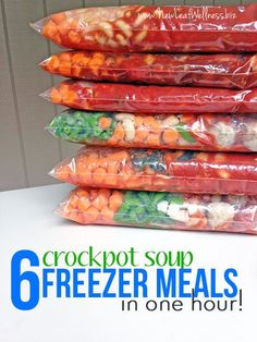 Make Six Crockpot Soup Freezer Meals in One Hour (including clean-up!). Free printable recipes and grocery list. We love these recipes!
