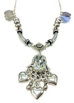 Silver necklace with big fancy Swarovski stone