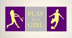 Softball wall art, soccer girl wall art, sports room decor, girls wall art, softball batter, set of 3, choose your sports and colors by PicabooArtStudio