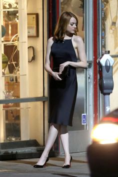 EMMA STONE on the Set of La La Land in Hollywood 09/19/2015