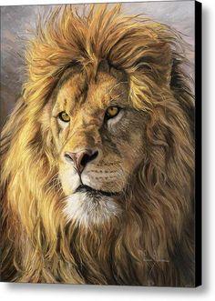 Portrait Of A Lion Canvas Print / Canvas Art By Lucie Bilodeau