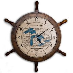 Custom Lake 24 Inch Ship Wheel Clock from Harbinger Laser  |  Customize it with your favorite lake!