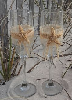 Burlap and White Finger Starfish Destination Beach Wedding Toasting Glasses
